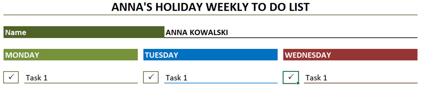 Weekly To Do List Completed Tasks