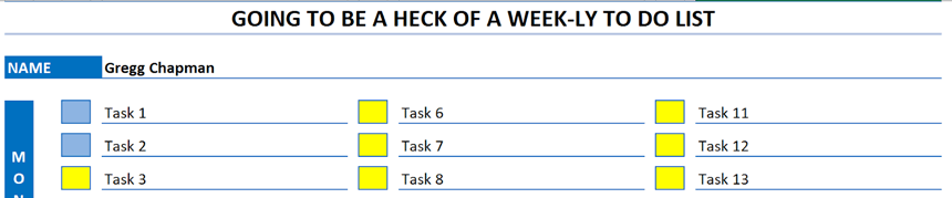 Weekly To Do List color codes