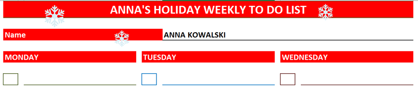 Weekly To Do List red theme