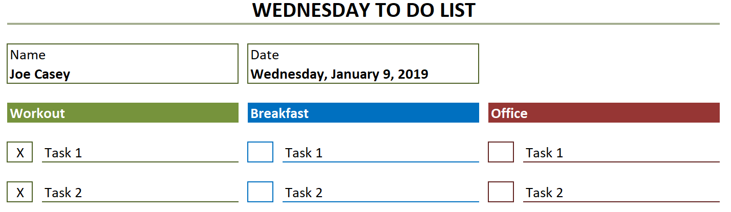 Weekly To Do List x completed tasks
