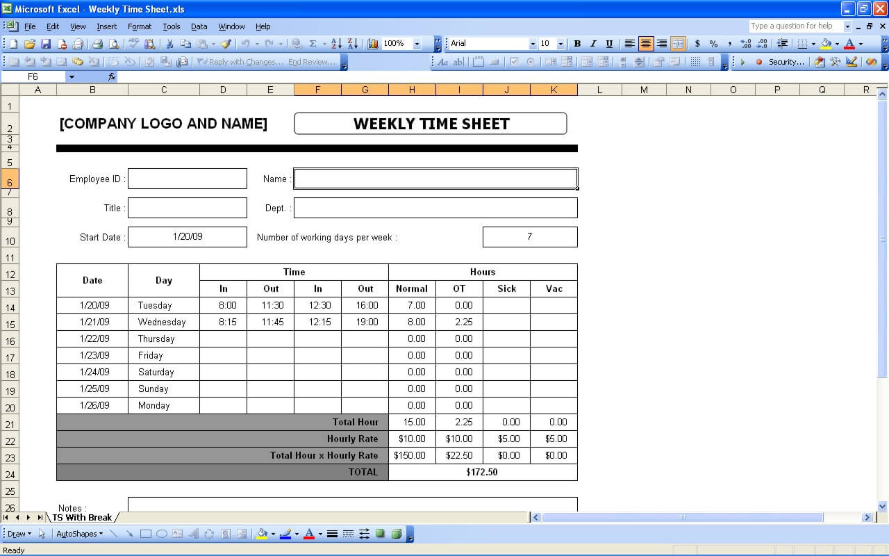 Time Sheets – Pay Roll Format