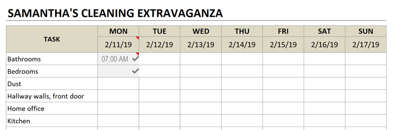 cleaning schedule change title