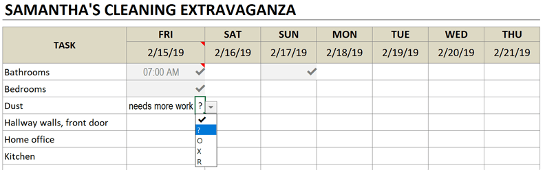 cleaning schedule complete task