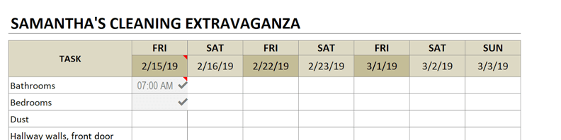 cleaning schedule overwrite dates