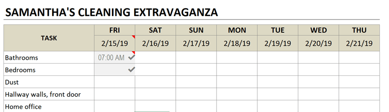 cleaning schedule start day friday
