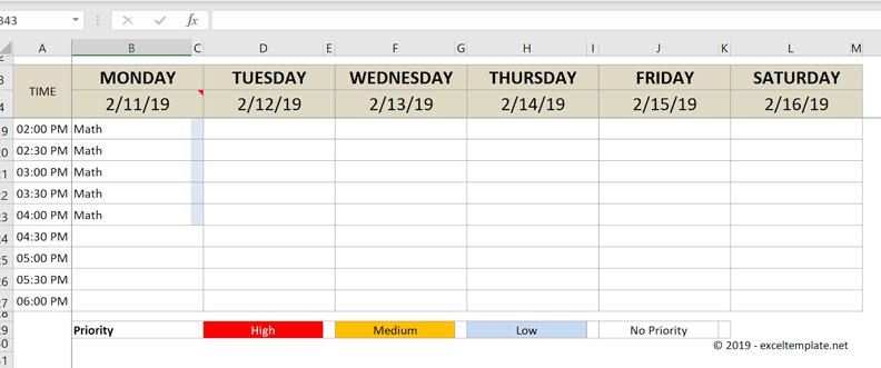 college schedule freeze panes