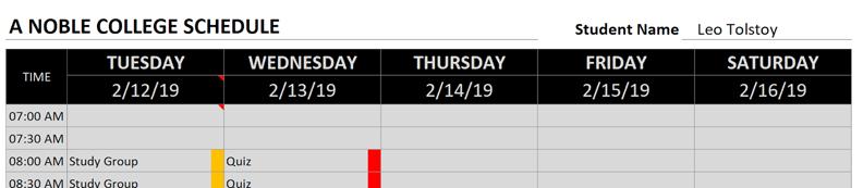 college schedule heavey-metal pattern fill