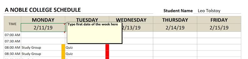 college schedule start date monday