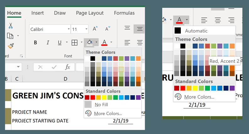 Construction Schedule Change Colors