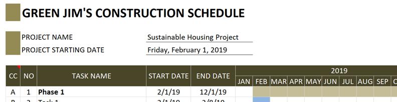 Construction Schedule Change Title
