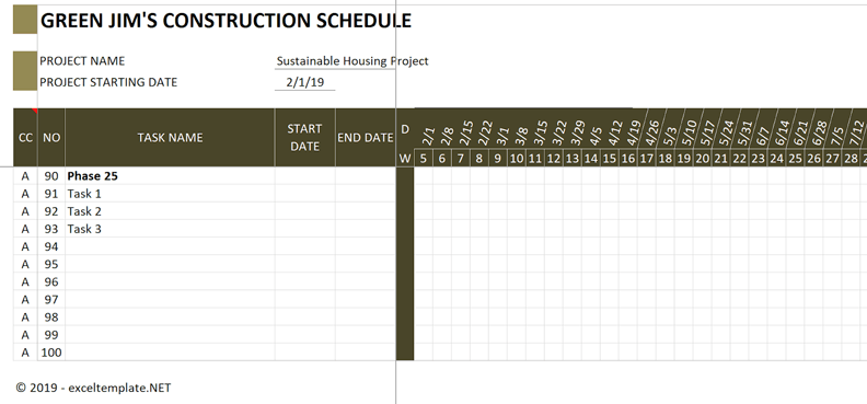 Construction Schedule Freeze Panes