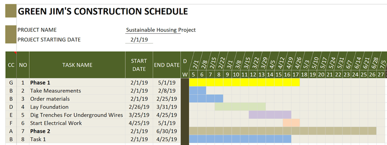 Construction Schedule Green Color Scheme Example