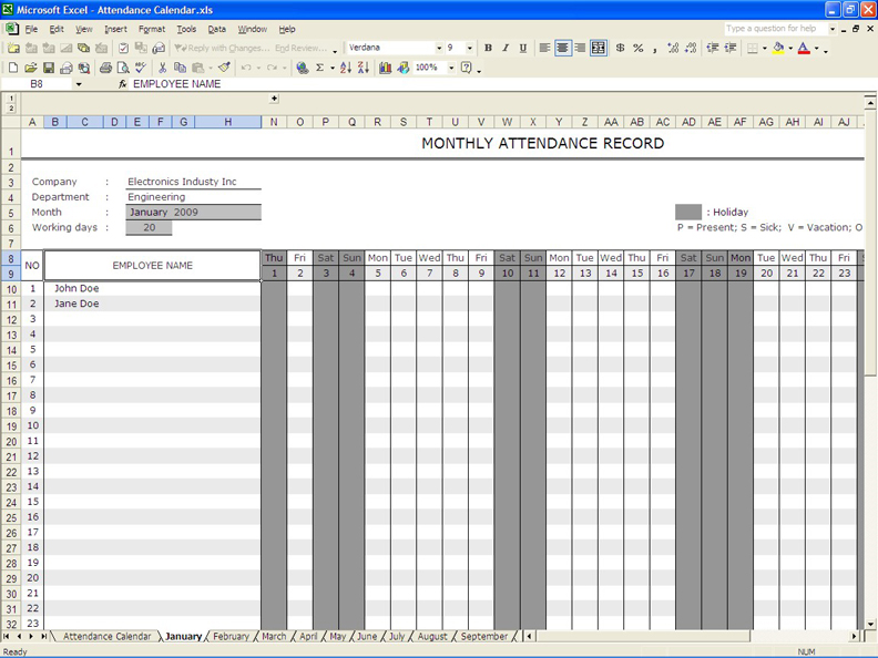 employee attendance calendar 6 working days