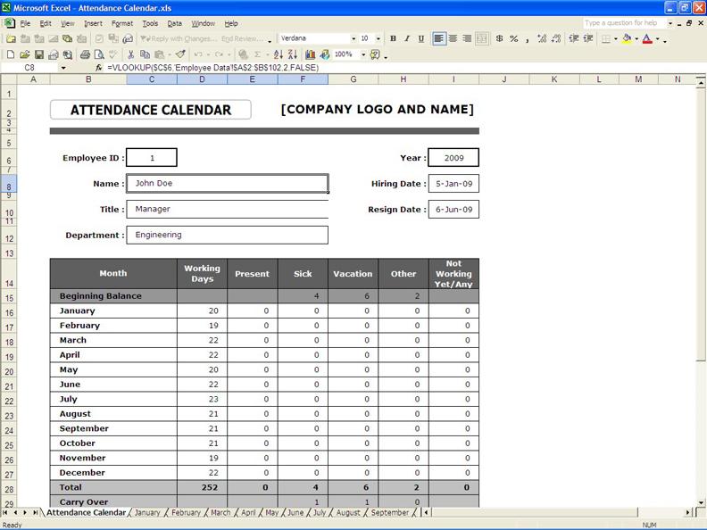 employee attendance calendar overview