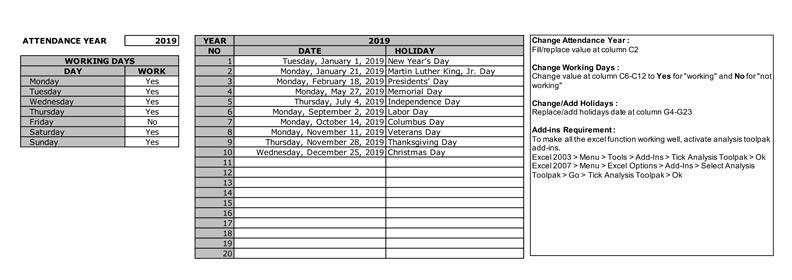 Employee Attendance Calendar » ExcelTemplate net