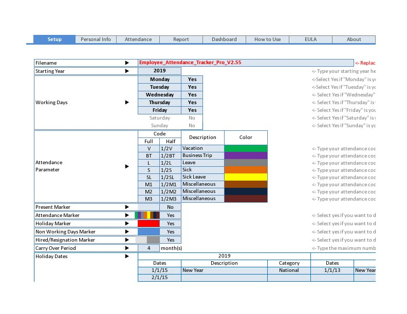employee attendance tracker setup