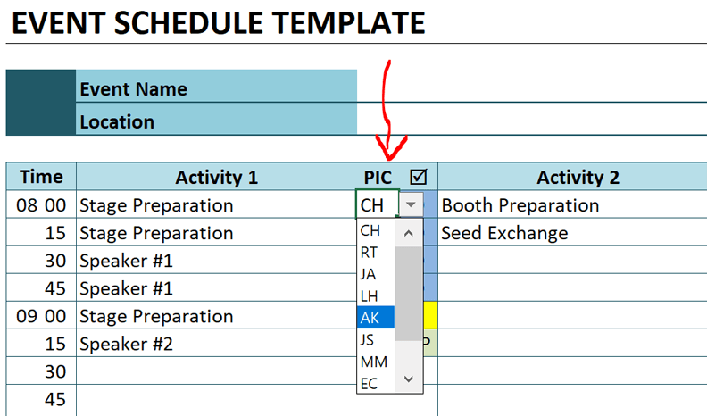 event schedule assign ownership