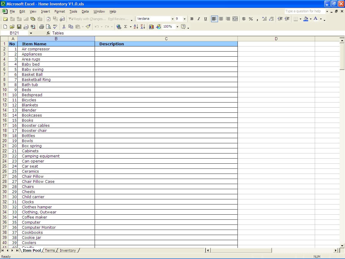 household inventory list  u00bb exceltemplate net