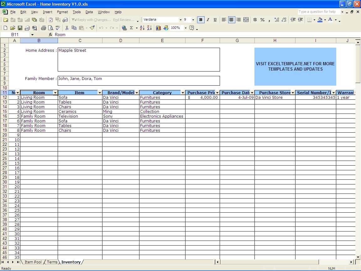 home inventory excel templates