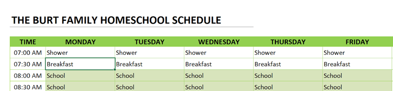 homeschool schedule change title
