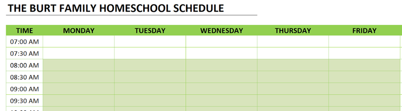 homeschool schedule clear data