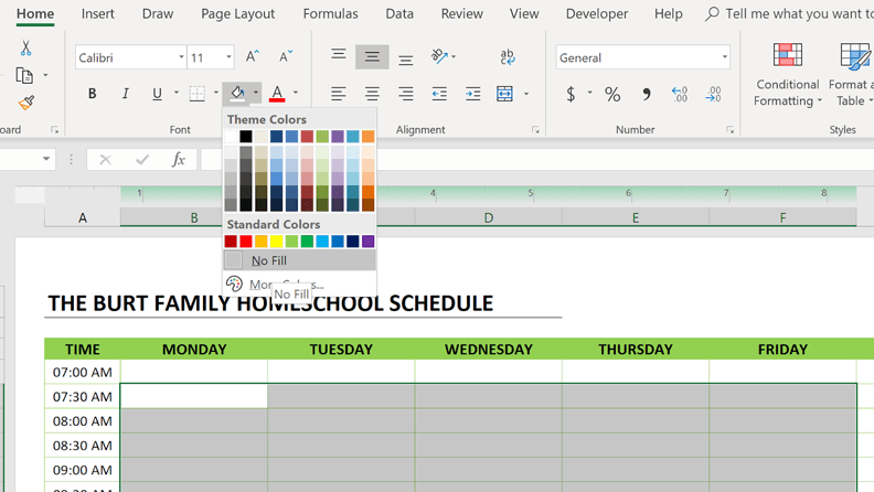 homeschool schedule clear format