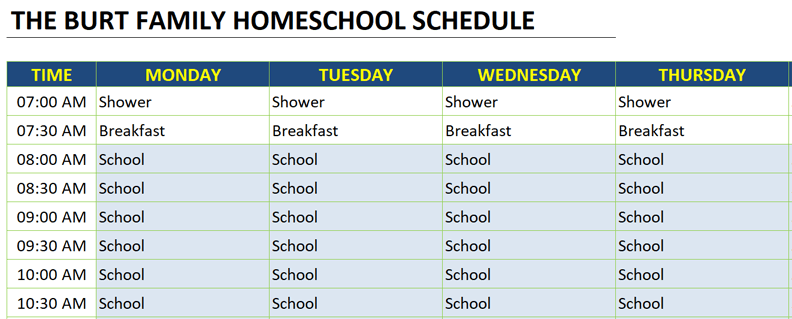 homeschool schedule color scheme example