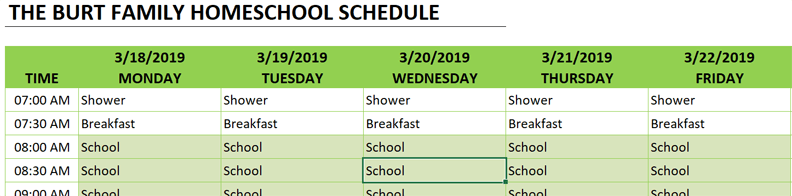 homeschool schedule copy formula