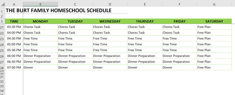 homeschool schedule freeze panes