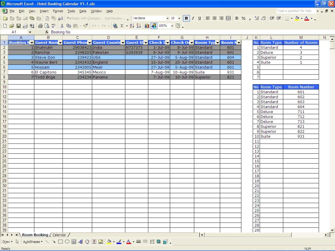 rooming list template excel
