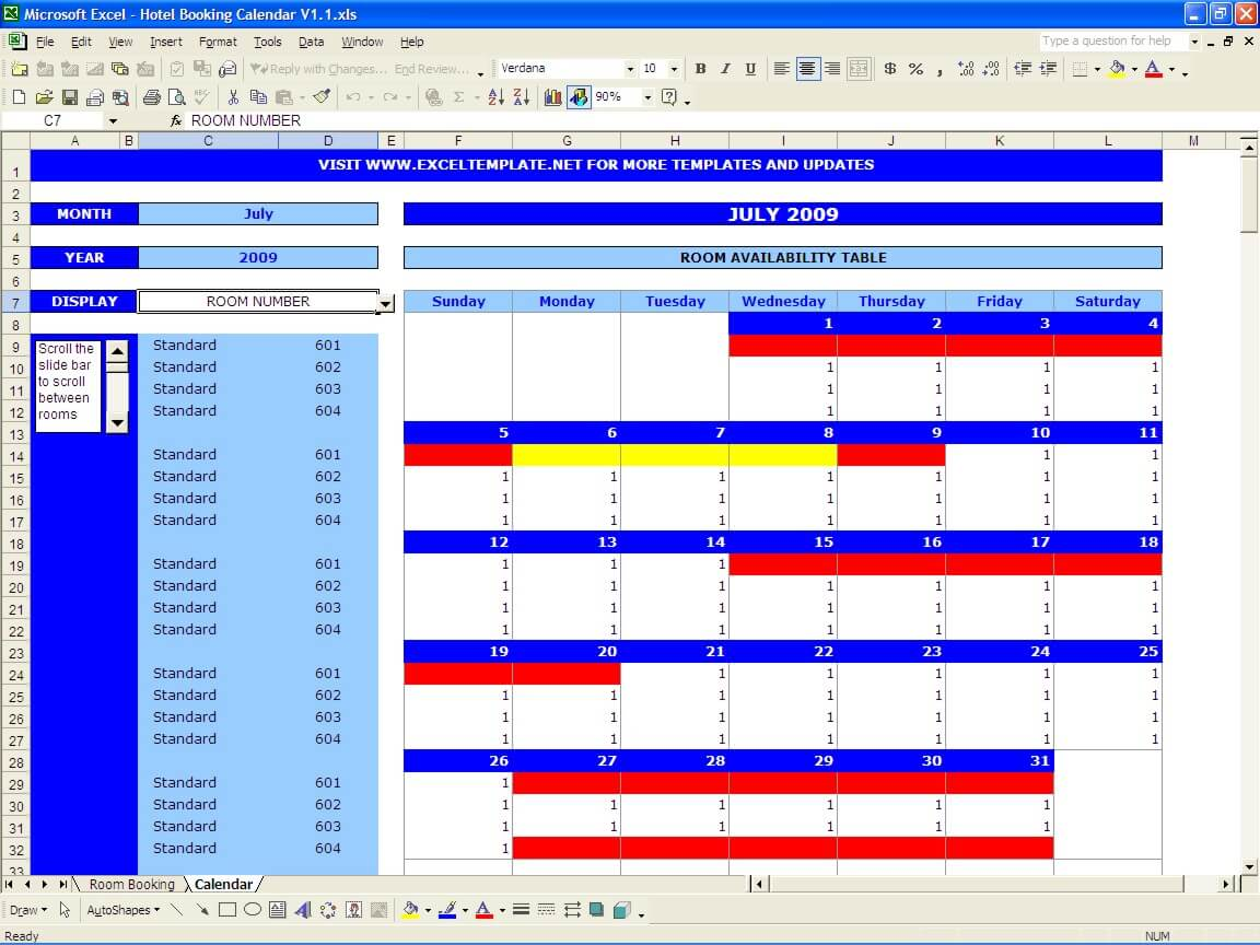Booking calendar excel templates for Booking hotels