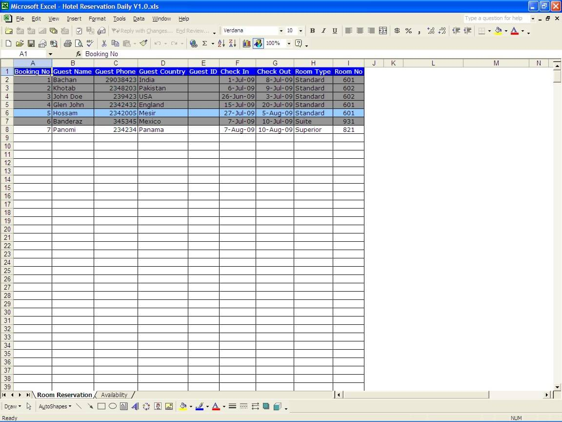 restaurant reservation template excel