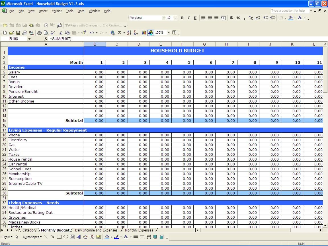 Daily Income and Expenses Worksheet:
