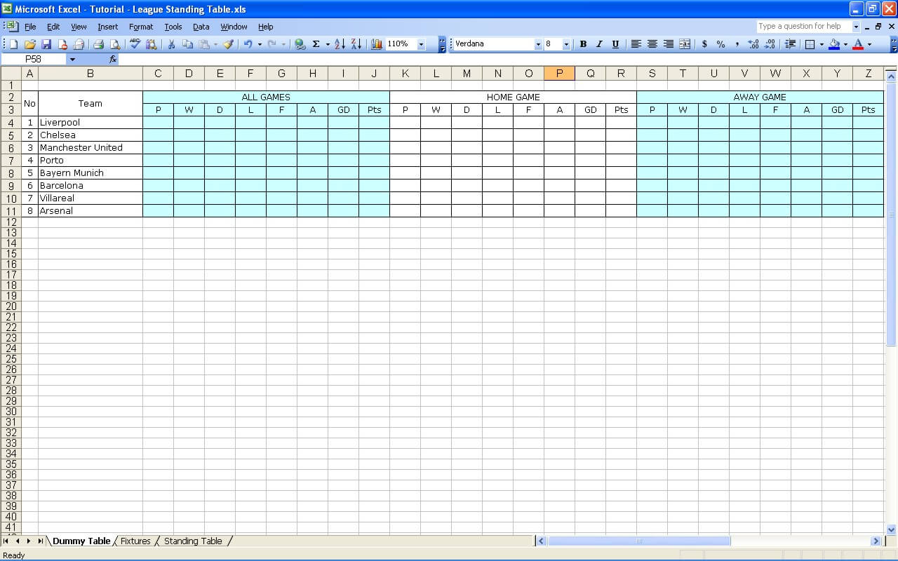 Create Your Own Soccer League Fixtures and Table » ExcelTemplate net