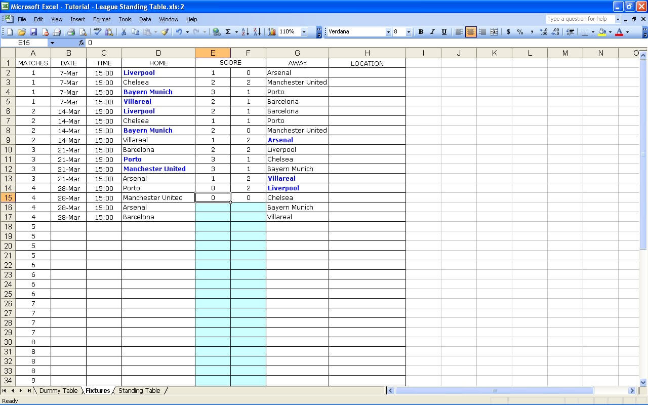 League standing excel templates spreadsheets create sports for Excel table design
