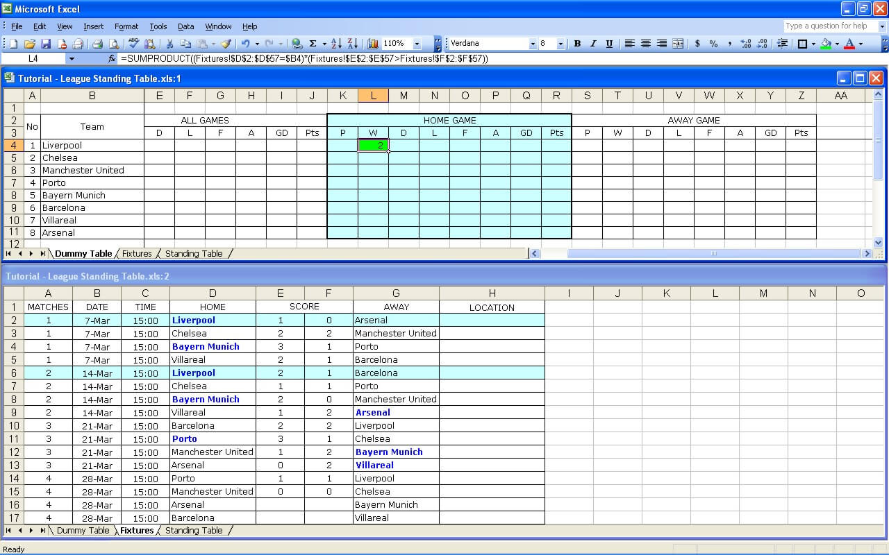 Create Your Own Soccer League Fixtures and Table | Excel Templates