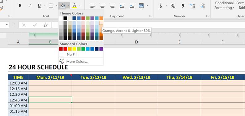 schedule change color scheme