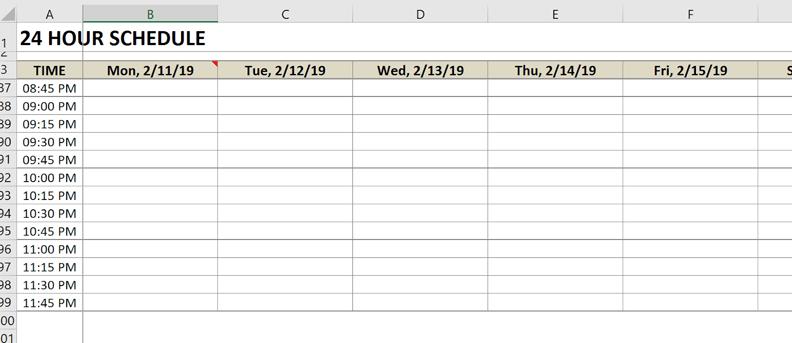 schedule freeze panes