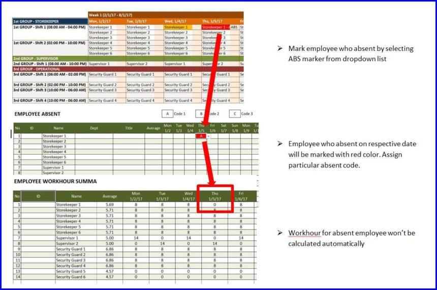 shift planner absent employees