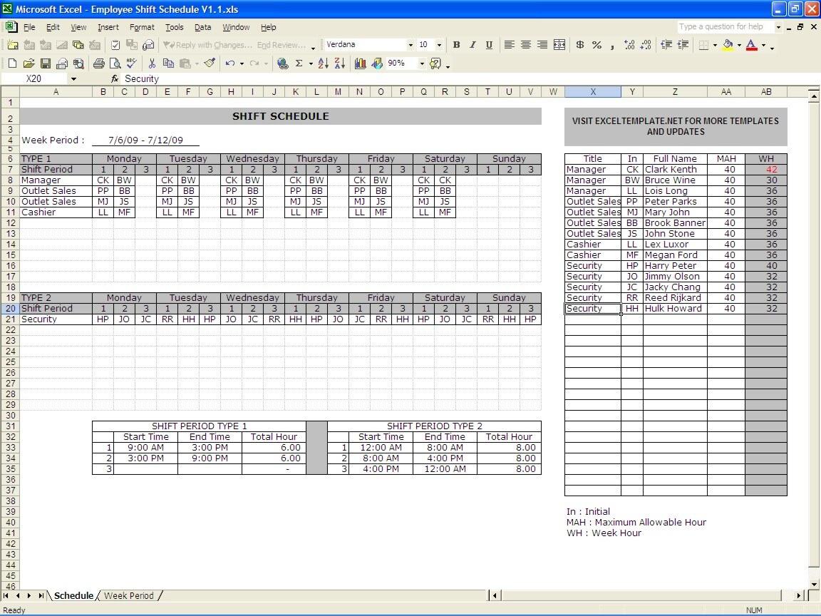 Employee Schedule Maker » ExcelTemplate.net
