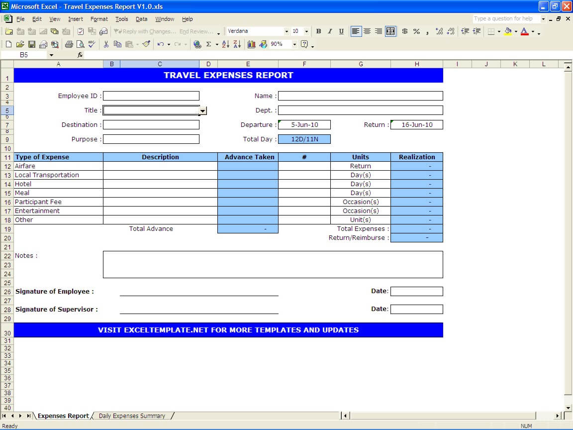 travel expenses report excel templates
