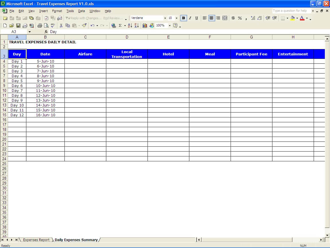excel travel expense report template excel travel expense report