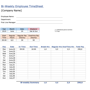 Employee Timesheet Template