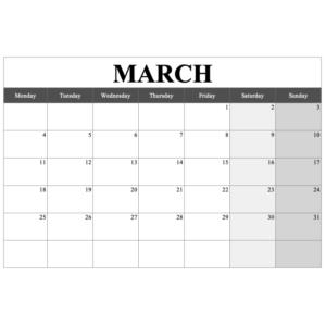 2019 Monthly Calendar Template Landscape