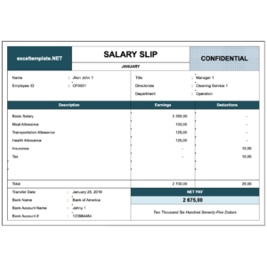 Paystub Excel Template