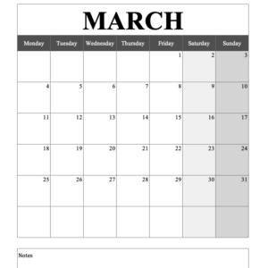 Portrait Calendar
