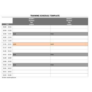 Training Schedule Template