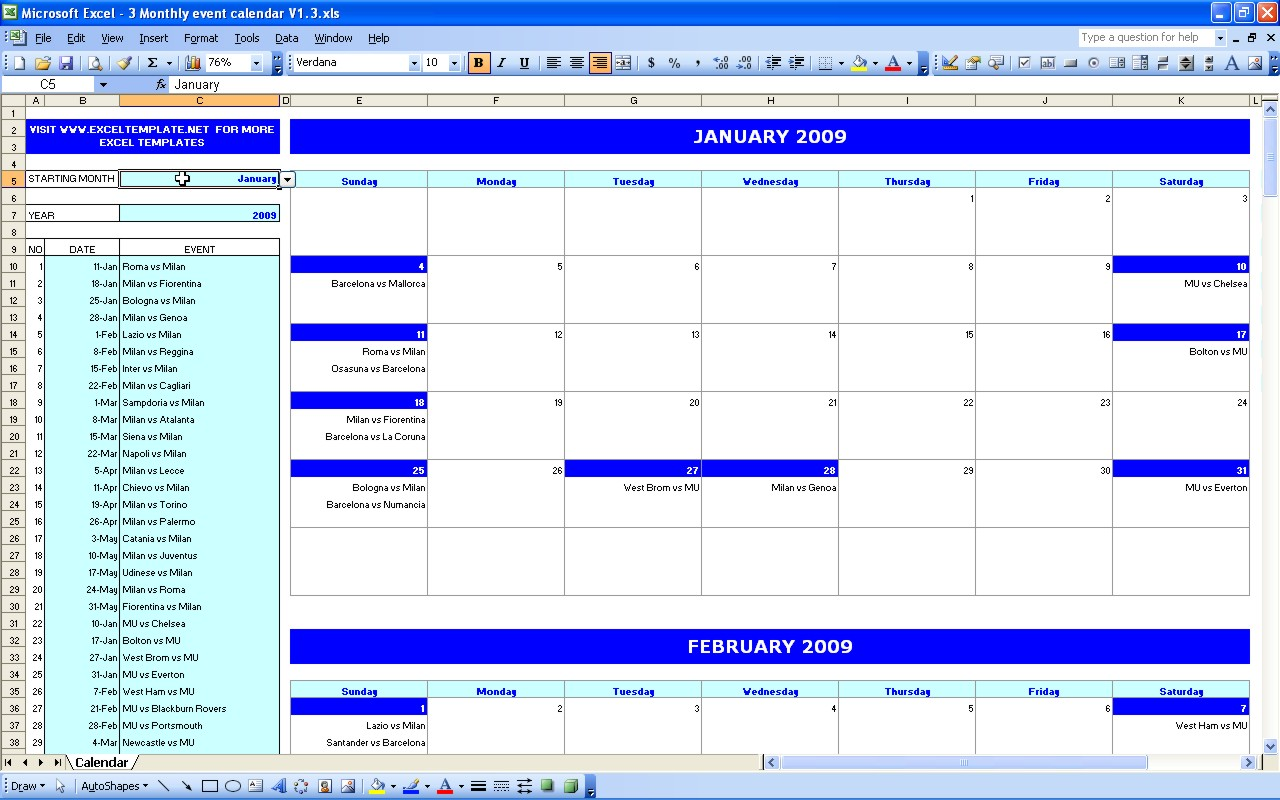 Calendar Booking Template : Monthly planner excel templates