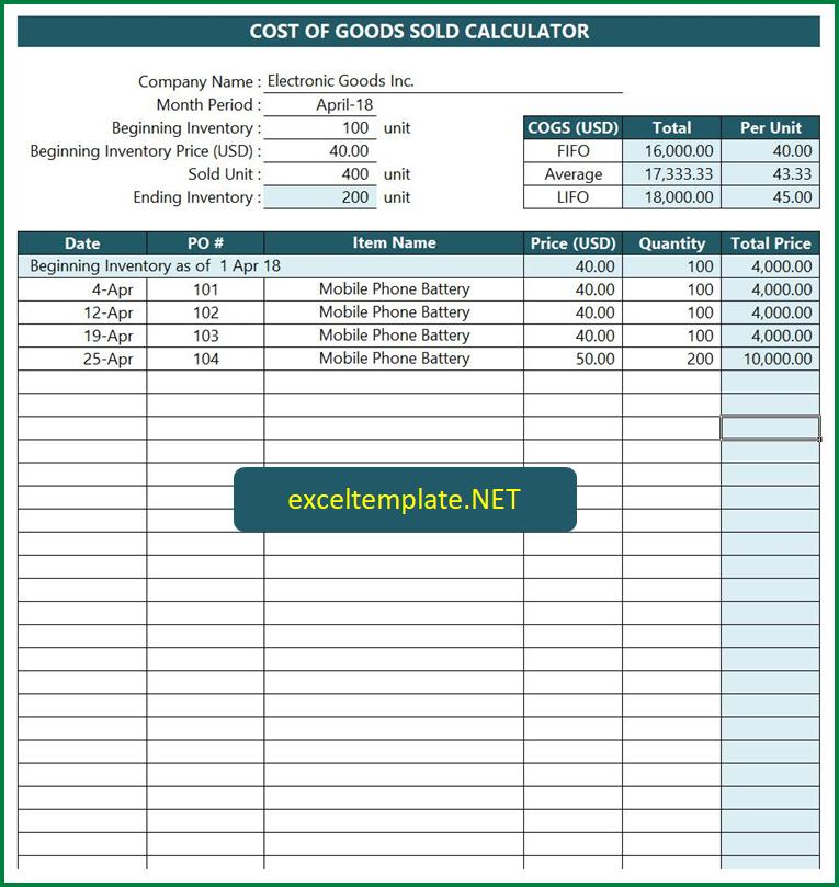 cost of goods sold excel - Ronni kaptanband co