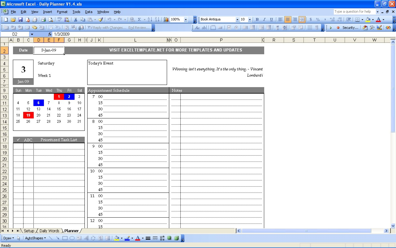 daily hourly planner template excel